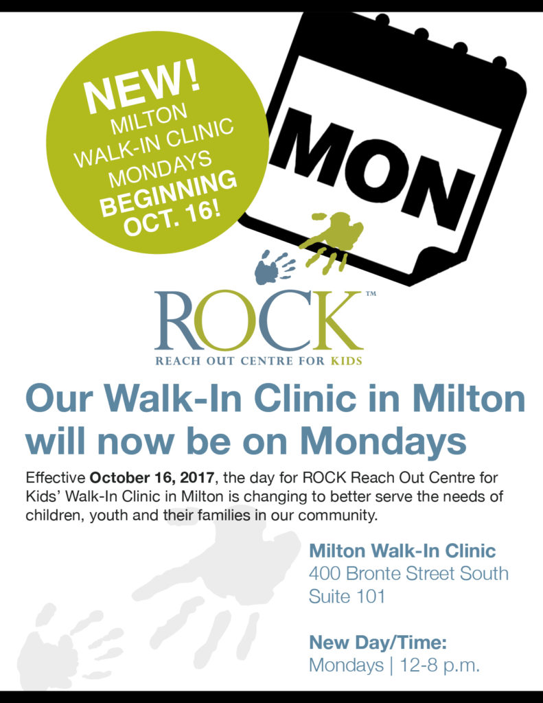 ROCK Milton Walk-in Clinic is moving to Mondays!